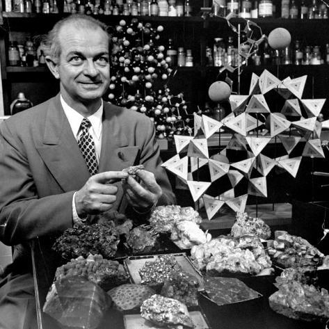 Cal. Tech Chemistry Professor, Dr. Linus Pauling with His Mineral Collection Premium Photographic Print