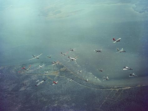 Fleet of US Air Force Operational Planes Flying in a Single Formation over Gulf Coast Photographic Print