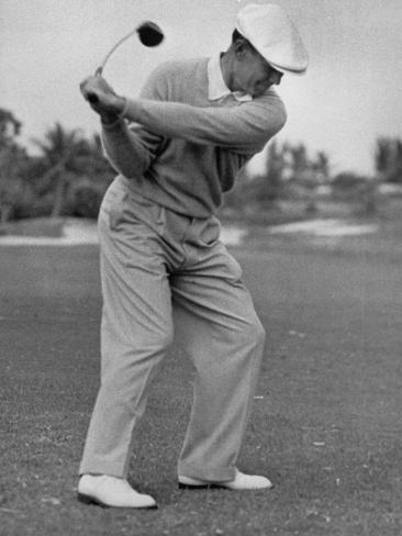 Golfer Ben Hogan, Dropping His Club at Top of Backswing Premium Photographic Print