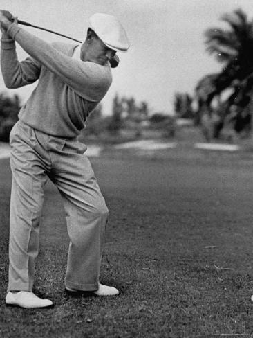 Golfer Ben Hogan, Keeping His Shoulders Level at Top of Swing Premium Photographic Print