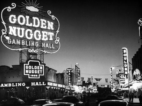 The Golden Nugget Gambling Hall Lighting Up Like a Candle Photographic Print