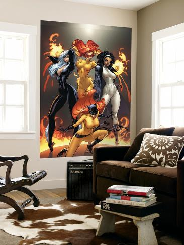 Marvel Divas No.1 Cover: Hellcat, Black Cat, Captain Marvel and Firestar Laminated Oversized Art