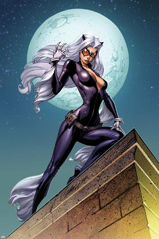 Ultimate Spider-Man No.152 Cover: Black Cat Standing on a Rooftop at Night Poster