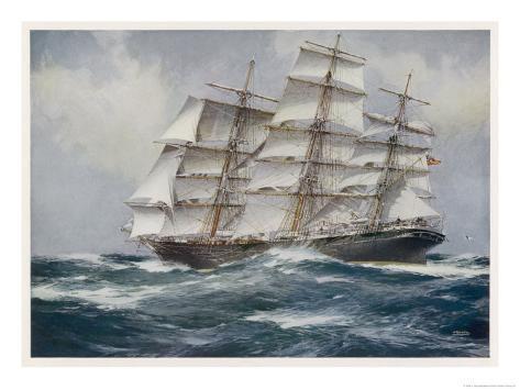 Three-Master Under Sail Giclee Print