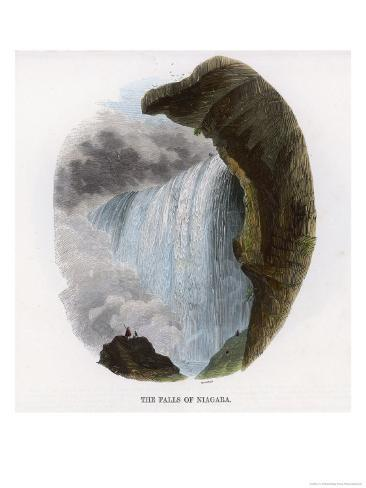 Two Tiny Figures are Dwarfed by the Might of Niagara Falls Giclee Print