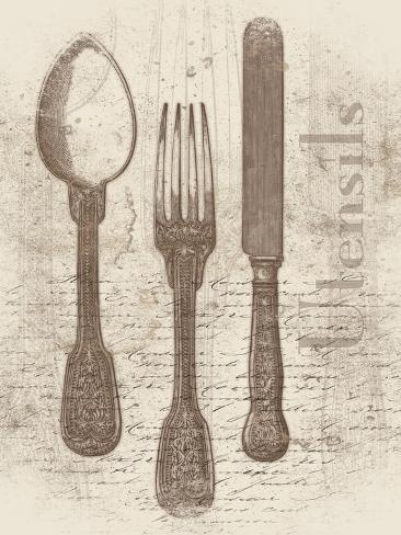 Cream Utensils Art Print