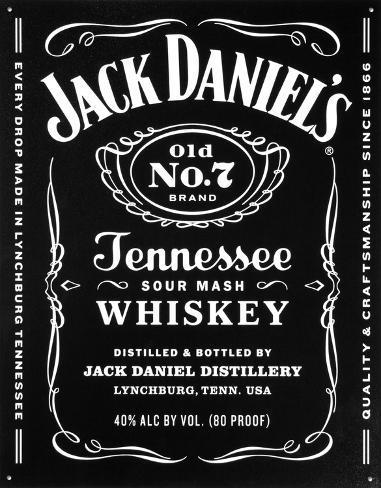 Jack Daniels - Bottle Label Tin Sign Tin Sign