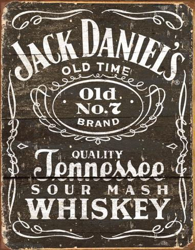 Jack Daniels, träsnitt, logo Plåtskylt