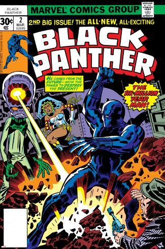 Black Panther No.2 Cover: Black Panther, Princess Zanda and Hatch-22 Charging Poster