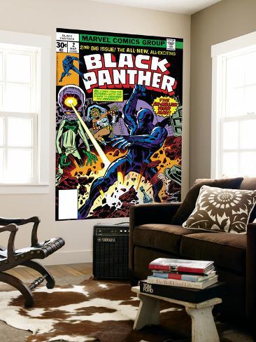 Black Panther No.2 Cover: Black Panther, Princess Zanda and Hatch-22 Charging Giant Art Print