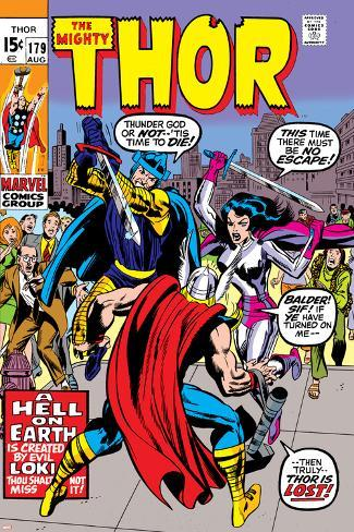 Thor No.179 Cover: Thor, Balder and Sif Poster