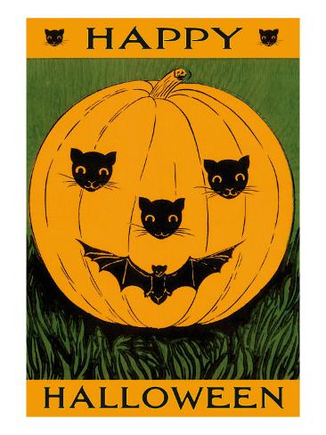 Jack O'Lantern with Cats and Bat Art Print