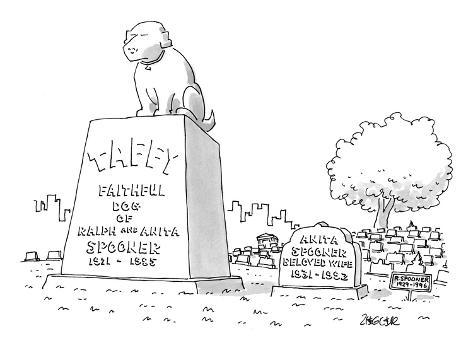 Huge Tombstone For Family Dog Taffy Stands Next To Smaller Stone Wif