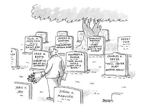 Man in graveyard looks at tombstones. - New Yorker Cartoon Premium Giclee Print