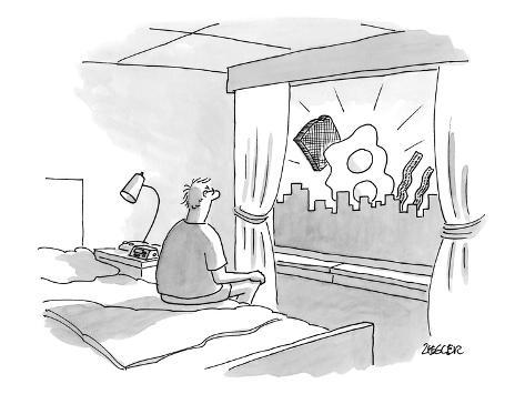 Man sitting on edge of bed looking out window at eggs, bacon, and toast. - New Yorker Cartoon Premium-giclée-vedos