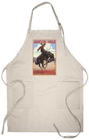 Jackson Hole, Wyoming Bucking Bronco Apron Apron