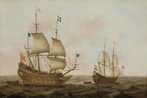 A Warship, Built in by Order of Louis XIII in a Dutch Shipyard Premium Giclee Print