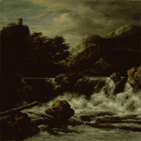Mountainous Landscape with Waterfall Art Print