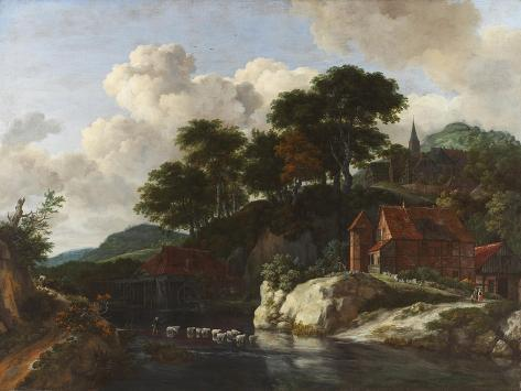 Hilly Landscape with a Watermill, c.1670 Giclee Print