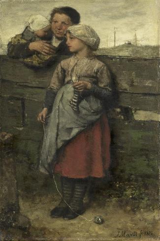 Dorpelingen, Jacob Maris Art Print