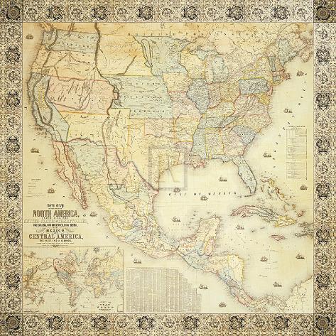 Map of North America, 1853 Art Print