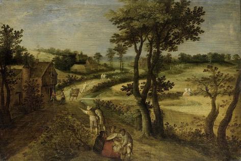 Landscape with Corn Fields Art Print