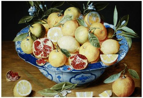 Jacob van Hulsdonck Still Life with Lemons Oranges and a Pomegranate Art Print Poster Poster