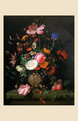 bouquet de fleurs dans un vase de pierre 1677 posters by jacob van walscapelle. Black Bedroom Furniture Sets. Home Design Ideas