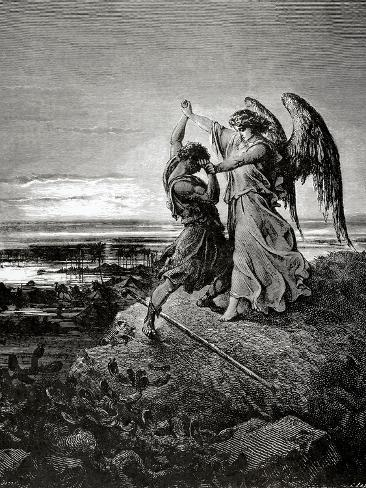 Jacob Wrestling with the Angel. Engraving. Lámina giclée