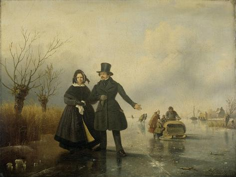 Portrait of Mr. and Mrs. Thijssen on the Ice Art Print