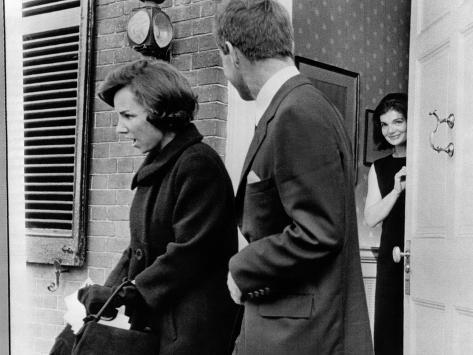 Jacqueline Kennedy, in Doorway of Her Temporary Georgetown Home after Leaving the White House Photo