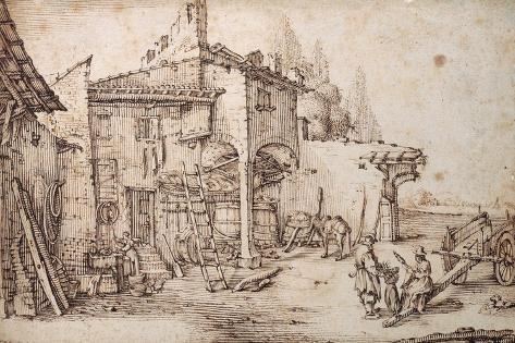 A Italian Farmyard Giclee Print