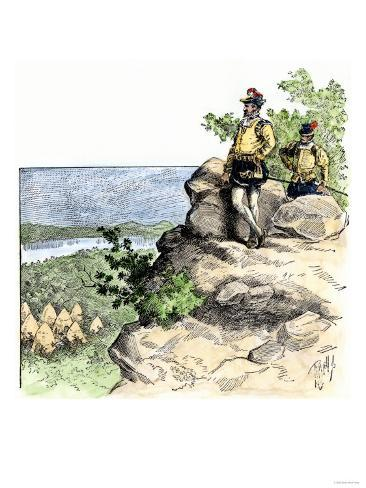 Jacques Cartier on the Summit of Mont Real, Now Montreal, Canada, c.1535 Stampa giclée