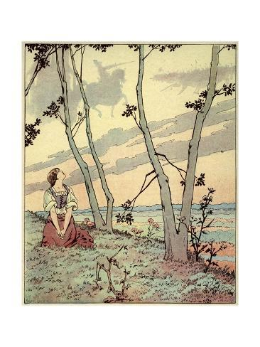 Joan of Arc Hears Heavenly Voices in the Forest Lámina giclée