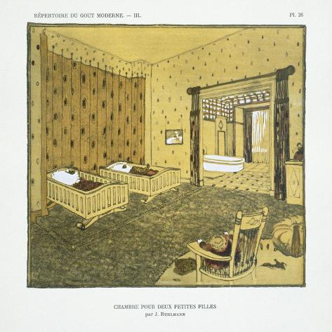 Bedroom for Two Small Girls, from 'Repertoire of Modern Taste', Published 1929 (Colour Litho) Lámina giclée