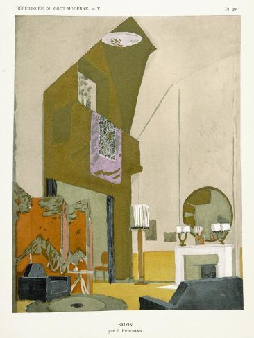 Salon, from 'Repertoire of Modern Taste', Published 1929 (Colour Litho) Lámina giclée