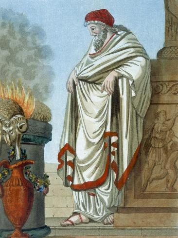 Pontifex Maximus, Illustration from 'L'Antique Rome', Engraved by Labrousse, Published 1796 Stampa giclée