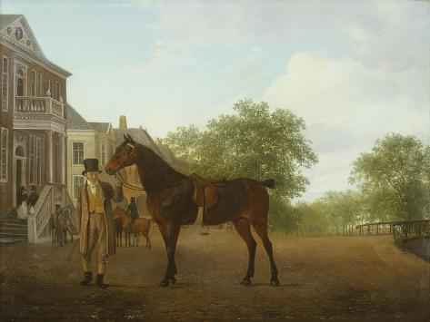 A Gentleman Holding a Saddled Horse in a Street by a Canal Impressão giclée