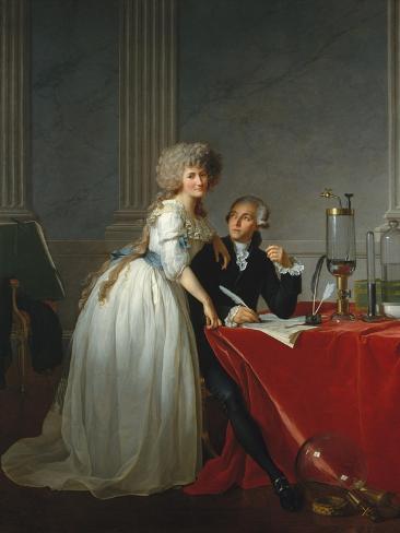 Portrait of French chemist Antoine Laurent Lavoisier with wife, 1788 Lámina giclée