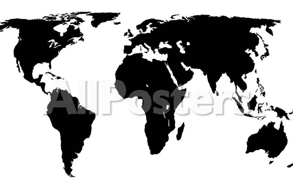 World Map - Black On White