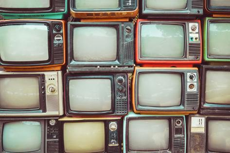 pattern wall of pile colorful retro television tv vintage filter effect style