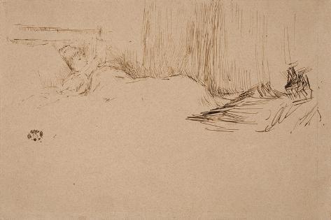 Girl Reading in Bed, C.1882 Gicléedruk