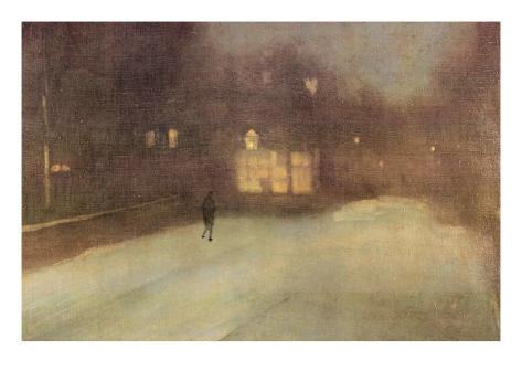 Nocturne In Gray and Gold, Snow In Chelsea Art Print