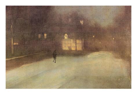 Nocturne in Gray and Gold, Snow in Chelsea Kunstdruk
