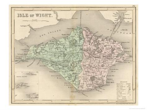 Map of the Isle of Wight Giclee Print
