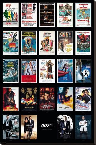 James Bond- 24 Movies Impressão em tela esticada