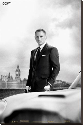 James Bond – Bond & DB5 - Skyfall Stretched Canvas Print
