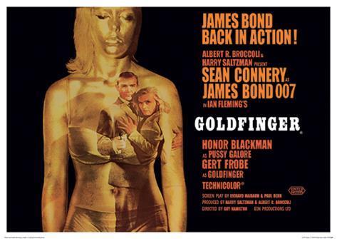 James Bond (Goldfinger Projection) Movie Poster Print Masterprint