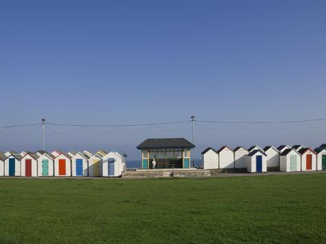 Beach Huts and Promenade Shelter, Paignton, Devon, England, United Kingdom, Europe Photographic Print
