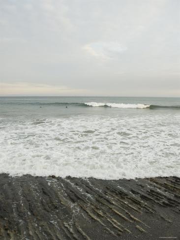 Santa Barbara Beach Scene with Surfers, California Photographic Print
